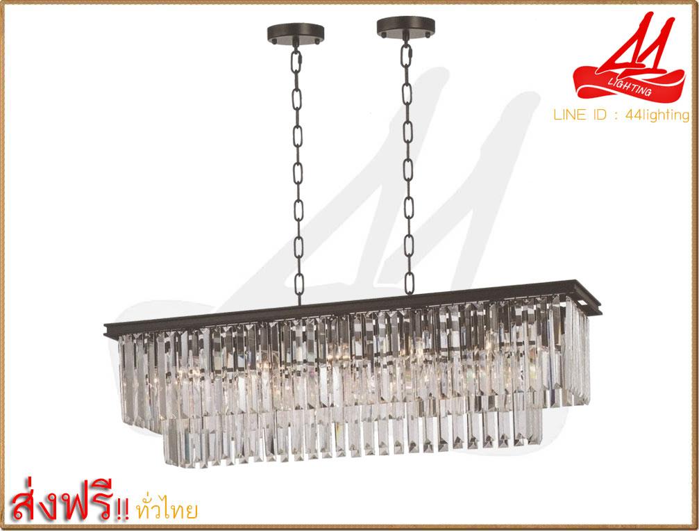 โคมไฟระย้าคริสตัล ขนาด : L100xW30xH24 cm.ใส่หลอดไฟขั้ว E14x15  (ไม่รวมหลอดไฟ E14)